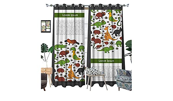 Amazon.com: longbuyer Curtains for Bedroom Vector Cartoon Hand Drawn Australian Animals background3 W108 x L84 Drapes: Home & Kitchen