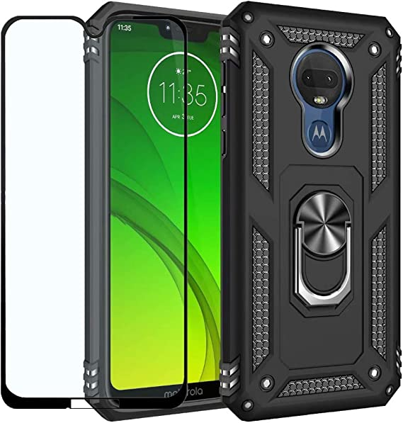 Motorola Moto G7 Case,Moto G7 Plus//Moto G7 Phone Case w//Kickstand /& Tempered Glass Screen Protector,TPU /& PC Hybrid Dual Layer Shockproof Bumper Heavy Duty Protective Cover-Black