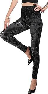 eef9c466f7a71 JOSSOIOJ Womens Print Fake Jeans Leggings Pant Stretchy Legging -High  Waisted Yoga Pants