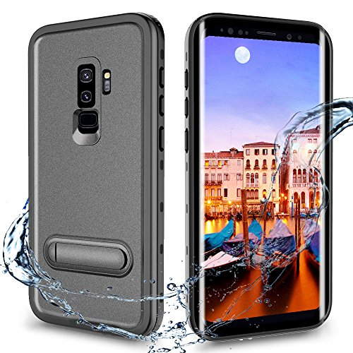 Waterproof Case for Galaxy S9 Plus, Full Body Protective Case with Kickstand, Outdoor Sports Shockproof Case with Sensitive Screen Protector(Black&Stand) - Kickstand Case Screen Protector
