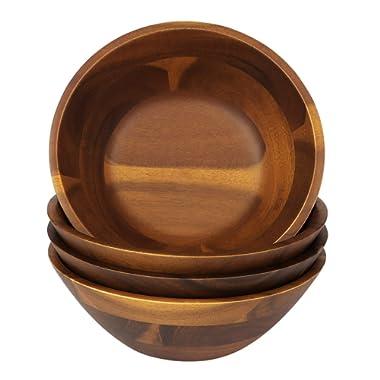 7-Inch Acacia Wooden Salad Bowls, AIDEA 4 Acacia Wood Bowl Set for Cereal Fruit Pasta,Hardwood Serving Bowl