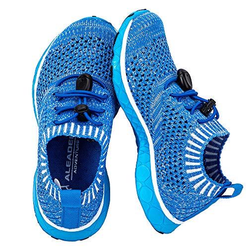 ALEADER Boys/Kids Aqua Water Shoes for Beach, Swim, Pool, Water Park, Comfortable Summer Walking Sneakers Slip Ons Royal Blue 10 M US ()