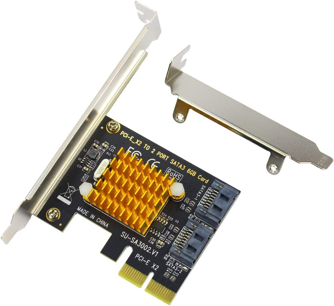 PCI Express Card to SATA3.0 2-Port SATA III Expansion Controller Card 6Gbps