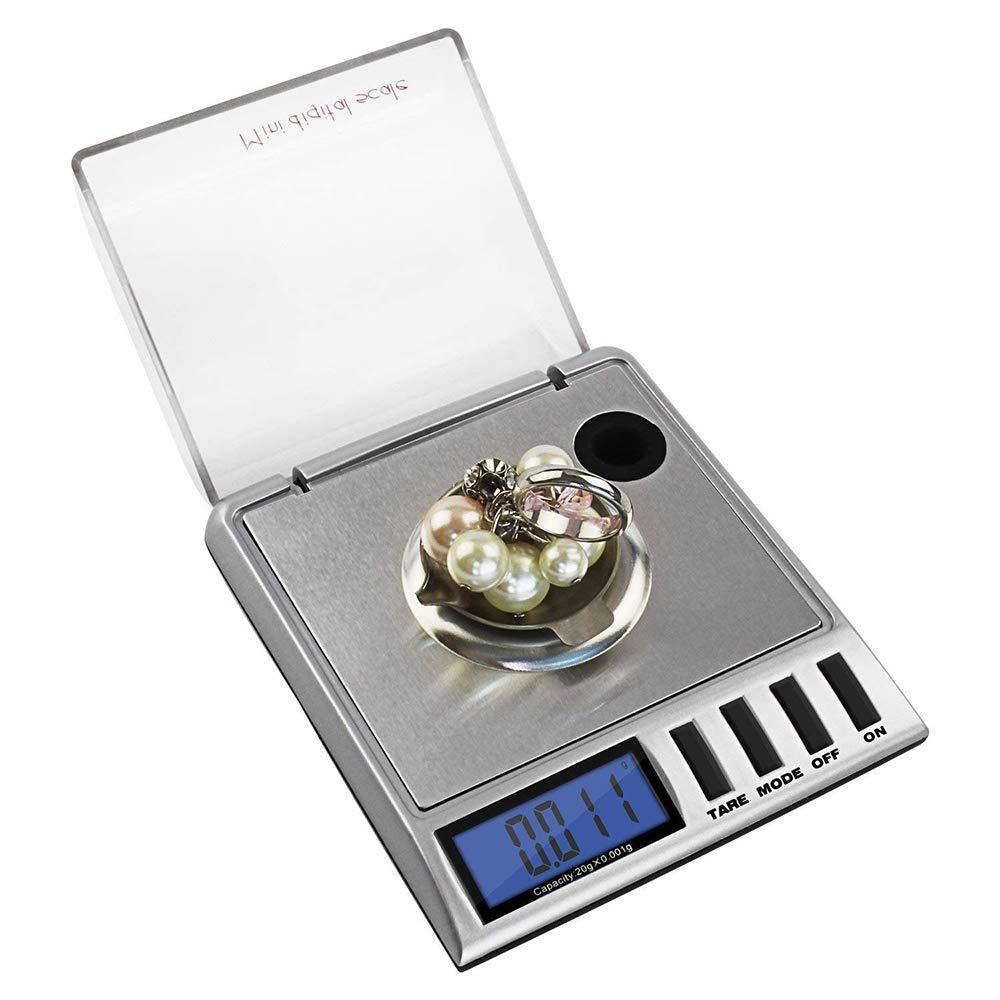Bilancia digitale di precisione Bilancia tascabile 20 X 0,001 G LCD milligramm di precisione Oro batteria alimentata gioielliere Bilancia con pesi di calibrazione e pinzette
