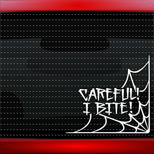 Careful I Bite #2 Spider Web Cute Funny Family Car Sticker Truck Window Vinyl Decal COLOR: RED