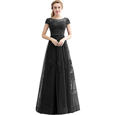 Amazon Kivary Short Sleeves Sheer Beaded Lace Tulle Long Corset