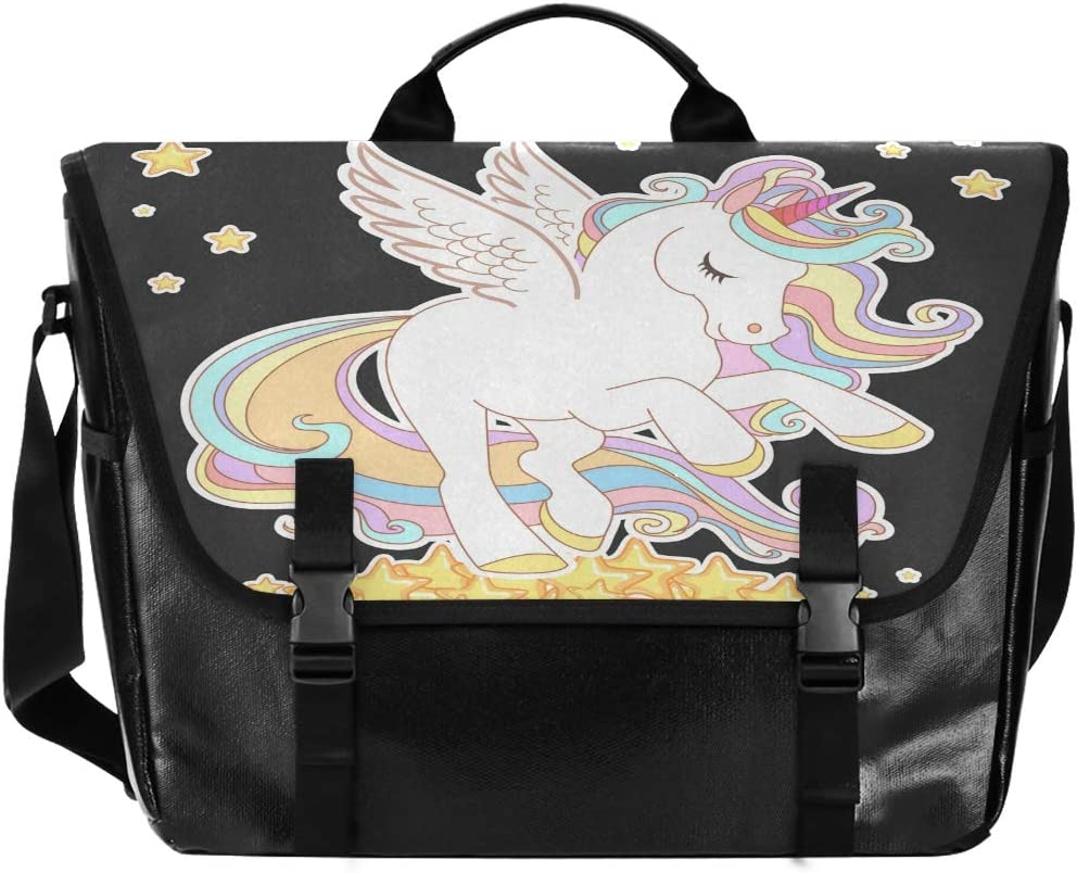 ALAZA Messenger Bag 15.6 Inch, Cute Unicorn Gold Hair White Wings Laptop Briefcase Waterproof Satchel Bag Crossbody for Work Traveling Camping