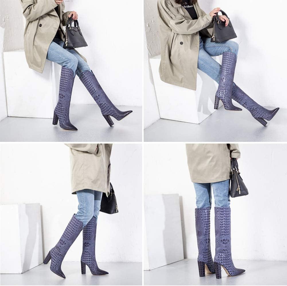 YQSHOES Damen Stiefel Mode High Heels Halbschaft Stiefel Krokodil Muster High Heels Lederstiefel violett