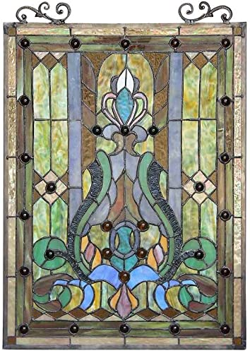 CARINA Tiffany-style Victorian Glass Window Panel 18×25