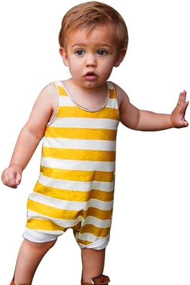 K-youth Niño Bebe Monos Ropa Bebe Niño Verano Ropa Bebe Recien Nacido Bebé Niño Niña Rayas Mameluco Lindo Mono Escalada Ropa Bebé Unisex Mono Sin ...