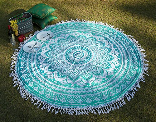Round Fringe Mandala Tassel Tapestry Beach Roundie Yoga Mat Tablecloth Hippy Hippie Boho Gypsy Beach Sheet By Rajrang (Outdoor Boho Decor)