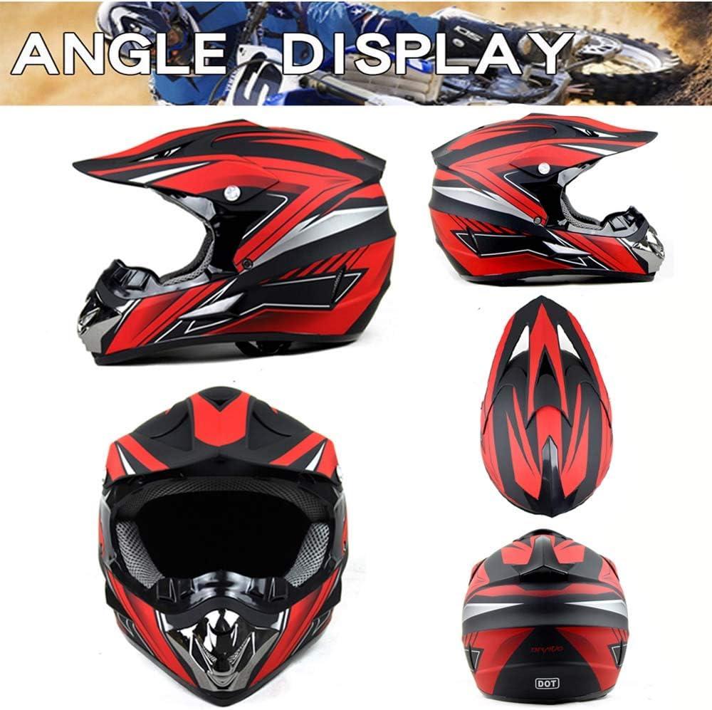 Herren Damen Motorrad-Helm Off-Road Downhill-Enduro-Helm-ATV-MTB-BMX Dirt Bikes Quad Motorr/äder Full-Face Schutz-Helm LEENP Motocross-Helm Schwarz Rot Crosshelm Set mit Brillen Maske Handschuhe