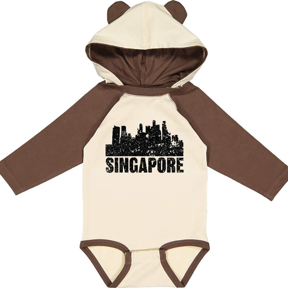 inktastic Singapore City Skyline with Grunge Long Sleeve Creeper