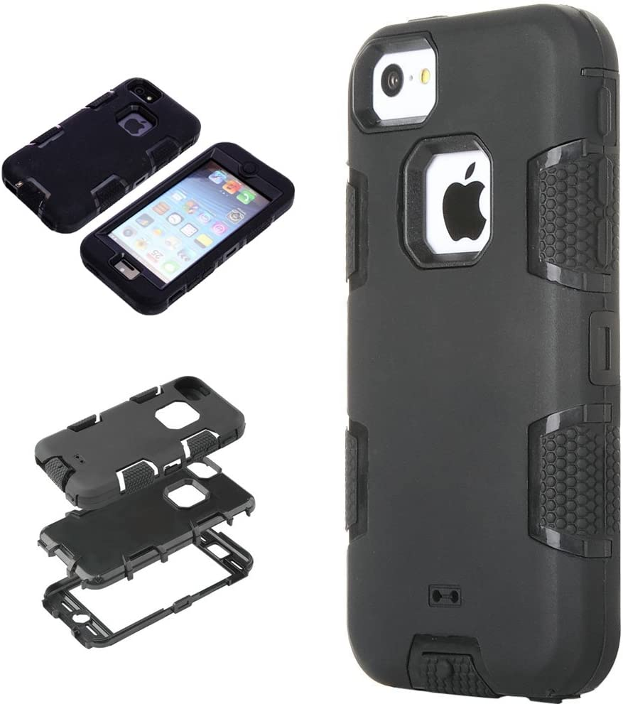 5C Case, iPhone 5C Case Cover, Magicsky Full Body Hybrid Impact Shockproof Defender Case Cover for Apple iPhone 5C, 1 Pack(Black/Black)