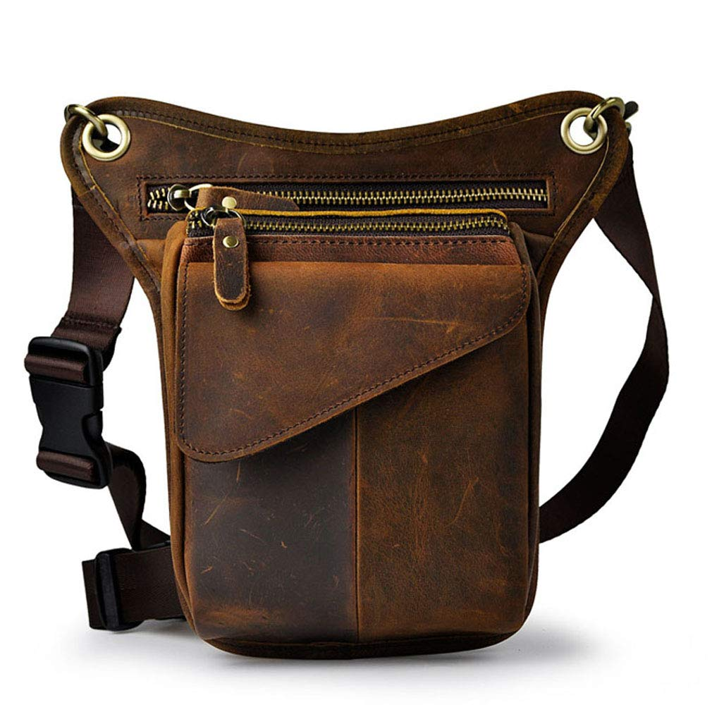 Hebetag Vintage Leather Waist Pack Drop Leg Bag for Men Women Belt Bum Bag Multi-Purpose Motorcycle Bike Outdoor Sports Tactical Cycling Riding Hiking Deep Brown by Hebetag