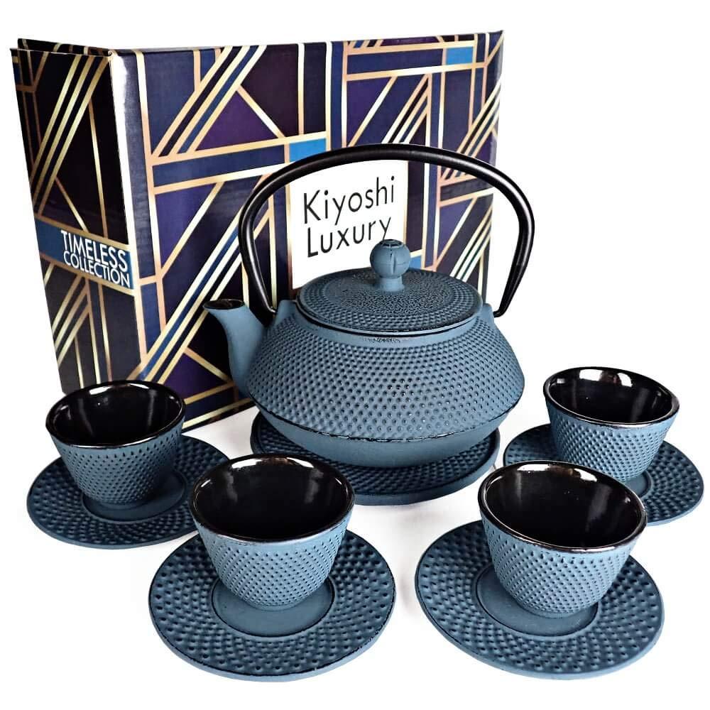 KIYOSHI Luxury 11PC Japanese Tea Set.''KONJOU Blue'' Cast Iron Tea Pot with 4 Tea Cups, 4 Saucers, Loose Leaf Tea Infuser and Teapot Trivet. Ceremonial Matcha Accessories and Iron Anniversary Gifts by KIYOSHI Luxury