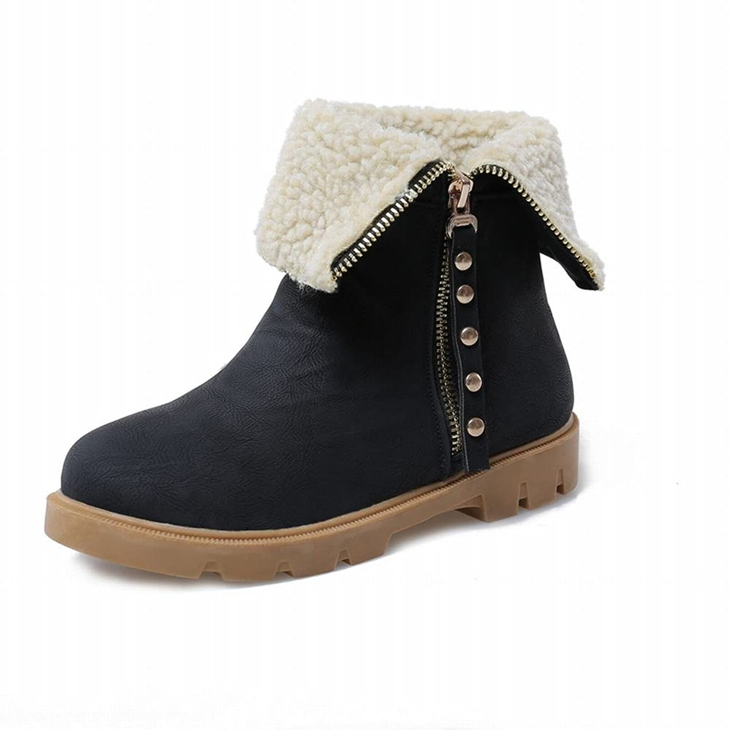 Show Shine Women's Fashion Fold Over Zipper Ankle Boots Flats Boots Snow Boots