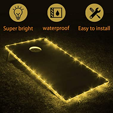 TongYu Set of 2 Cornhole Board Edge Night Lights,Light Up LED Lighting Cornhole Boards Kit, Long Lasting (72+ Hours) Great for Tailgates Backyard/Lawn Wedding BBQ & More!