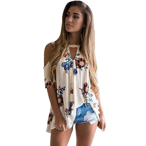 OverDose mujer camiseta atractiva impresión floral del cuello de V floja tops blusa