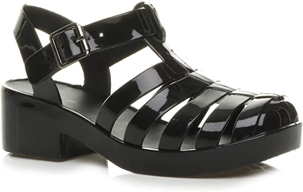 Womens Flat /& Heeled Gladiator Jelly Shoes Sandals with Buckle UK Size 3-8