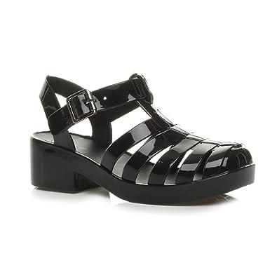 ee704f9d9b88 Ajvani Girls Kids mid Block Heel Gladiator Jelly 90 s Retro Sandals Size ...