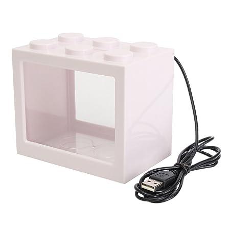 TOOGOO Pecera clara de iluminacion LED USB mini Acuario de ornamento Decoracion de escritorio de oficina, Blanco: Amazon.es: Hogar