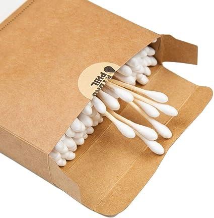 Auriculares de algodón puro 100% ecológicos, de bambú natural, biodegradables, para maquillaje.: Amazon.es: Belleza