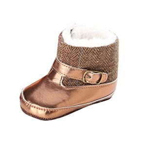 Ecosin(TM) Toddler Infant Baby Girl Gold Snow Boots Soft Sole Prewalker Crib Shoes (12~18 Month, Gold)