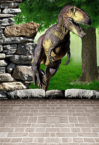 Leyiyi 5x7ft Photography Background 3D Safari Dinasour Backdrop Happy Birthday Party Jurassic Period Vintage Stone Wall Ancient Forest Grassland Baby Shower Photo Portrait Vinyl Studio Video - Hunter Props Monster