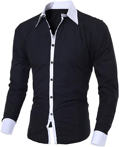 Asymmetrical Fashion Long Sleeve T-Shirt Casual Cotton blend Men Slim Shirt Tops