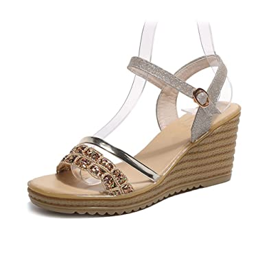 6e04edb7b6d1f Amazon.com | Kyle Walsh Pa Women Wedge Flat Sandals, Rhinestone ...