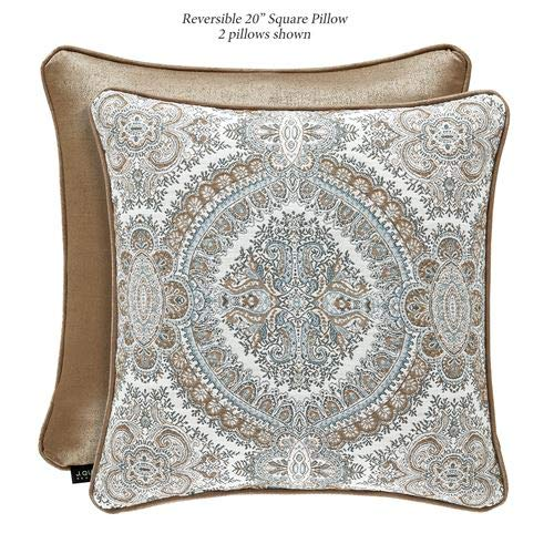 (J Queen New York, Inc. Sorrento Medallion Piped Pillow Blue 20