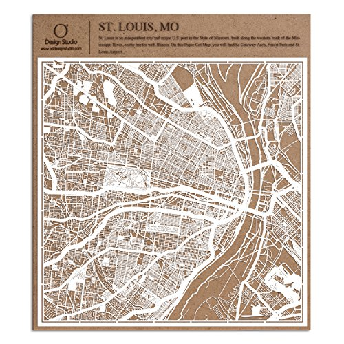 Saint Louis, MO Paper Cut Map by O3 Design Studio White 12x12 inches Paper Art