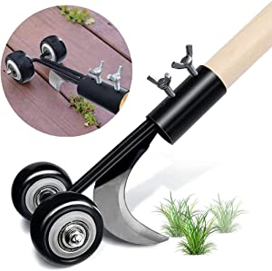 PcleasureCD Stand Up Weed Puller Tool, Weeds Snatcher Crack and Crevice Weeding Tool, Manual Weeder Garden Tools for Patio Backyard Sidewalk Driveways (Curved Weed Puller)