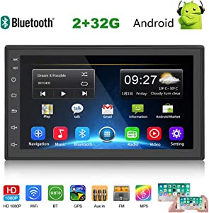 Double Din Car Stereo 7 Inch Android(2+16G) Touch Screen Car Radio with Bluetooth Head Unit Support FM/WiFi/Mirror Link/Backup Camera/GPS Navigation/DVR/USB/SD Indash 2 Din Car Radio