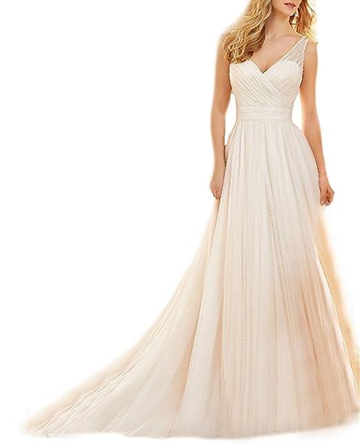XUYUDITA Vestido de novia de la lšªnea A de las mujeres - Vestido de novia de princesa Beach: Amazon.es: Ropa y accesorios