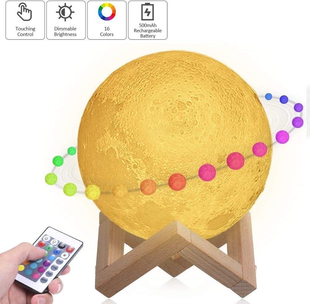 Lámpara Luna 3D, 15cm Lámpara Mesilla de Noche,16 Colores y 4 Modos de Iluminación,Brillo Regulable Recargable USB,Control Remoto y Control Táctil,Regalo Navidad para Mujer,Amigas,Niños