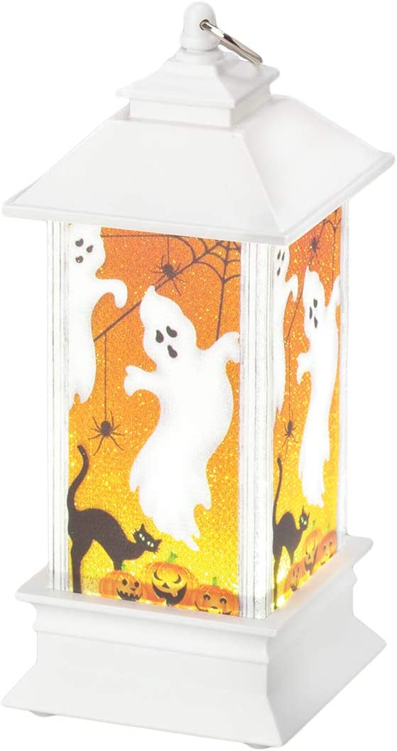 "Roman - Lighted Ghost Lantern, Halloween Collection, 5"" H, Plastic, Home Decor, Adorable Gift, Durable"