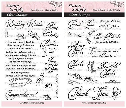 Stamp Simply Clear Stamps Wedding Wishes and Many Thanks Christian Religious (2-Pack) 4x6 Inch Sheets - 27 ()