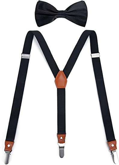Great Gift Clip Design Y-Back Suspender and Bow Tie Matching Set Adjustable
