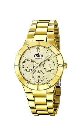 Lotus Reloj de Cuarzo para Mujer con Oro Esfera analógica Pantalla y Pulsera Chapado en Oro de Acero Inoxidable 15914/2: Amazon.es: Relojes