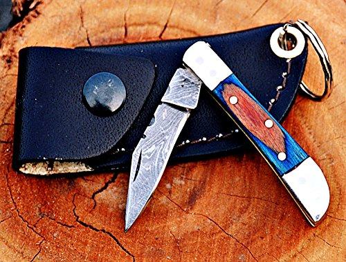 Custom Handmade Damascus Steel Mini Trapper Folding Knife,Multi Color Wood Handle -