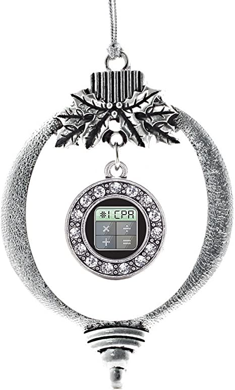 Amazon Com Inspired Silver 1 Cpa Charm Ornament Silver Circle Charm Holiday Ornaments With Cubic Zirconia Jewelry Home Kitchen