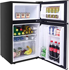 Household Mini fridge with Freezer Compact for Bedroom 2 Doors 90L/3.2CU.FT BCD-90 AC115V/60Hz