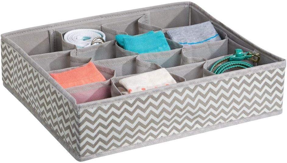 mDesign Organizador de cajones con estampado en zigzag – Caja organizadora de tela para cinturones, calcetines, etc. – Organizador de ropa interior con 16 compartimentos – gris topo/crema: Amazon.es: Hogar