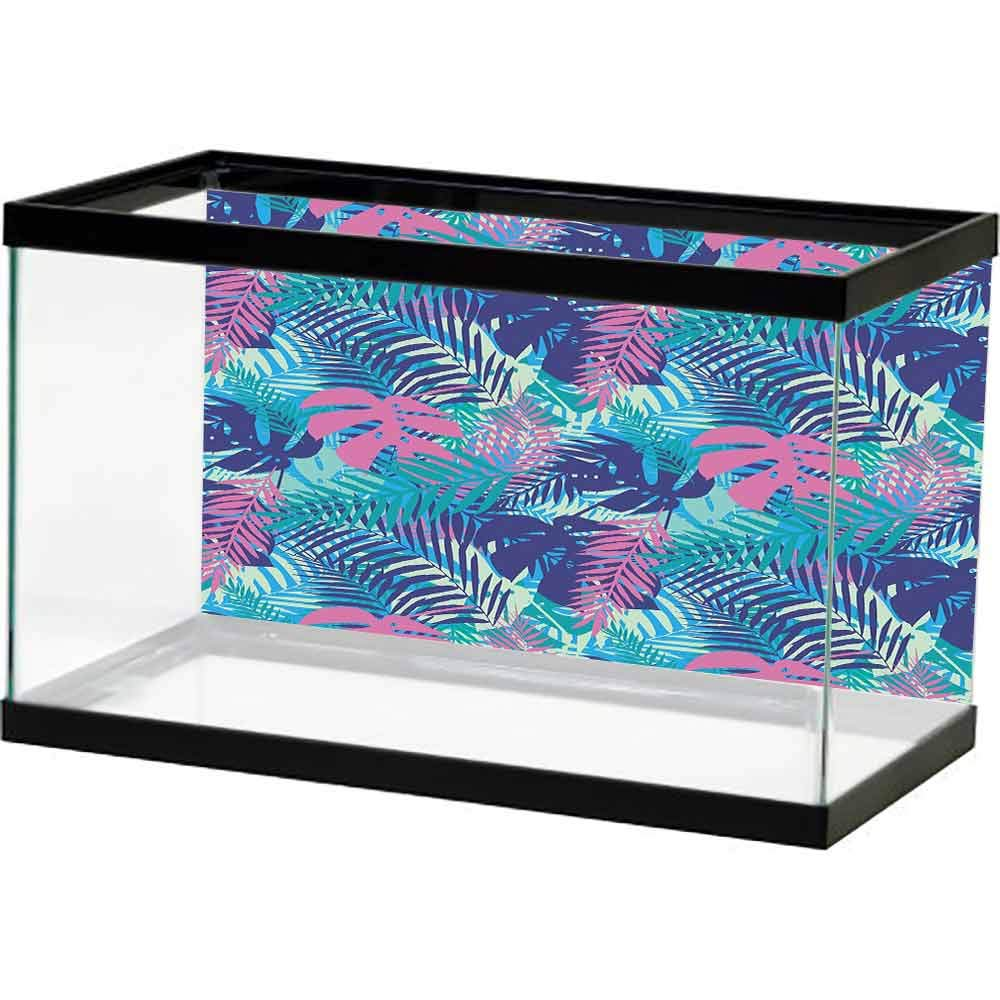 bybyhome Fish Tank Wall Leaf,Digital Neon Vivid Colored Island Oceanic Flowers and Leaves,Pink Turquoise Dark Blue and Purple Underwater Backdrop Image Decor by bybyhome