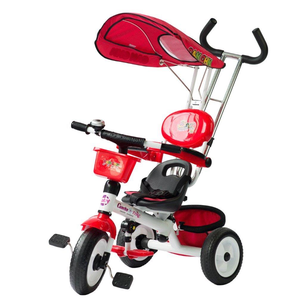 子供用三輪車ベビーベビーカー子供用自転車ベビー幼児用トロリー自転車1-5歳 (色 : 赤)  赤 B07DS3V1L1