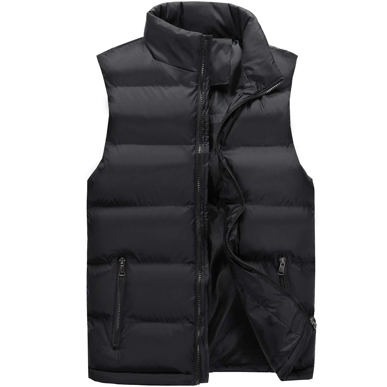 Down Puffer Vest Men Zipper Pockets Inside Pockets Lightweight Jacket Warmer in Winter