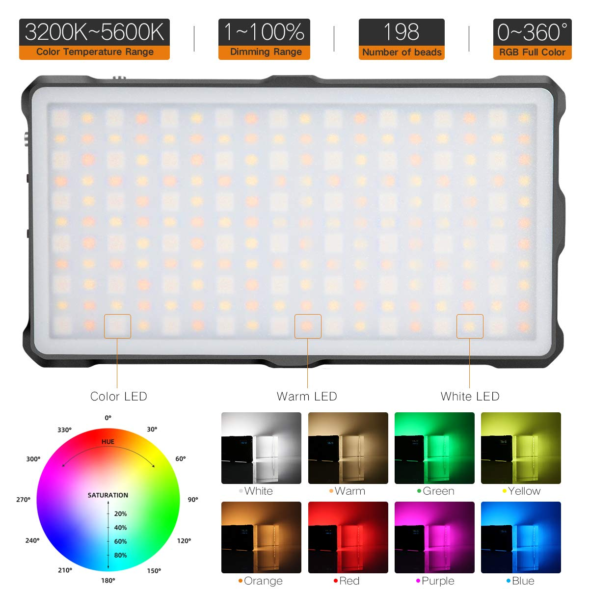 Amazon.com: Pixel RGB LED Video Light On-Camera Video Light ...