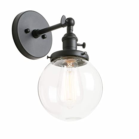 Beau Phansthy Industrial Sconce Light Vintage Wall Light Fixture With 5.9u201d Round  Clear Glass Canopy For